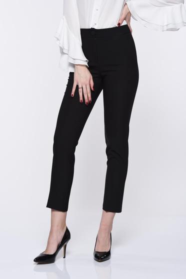 Artista black trousers office with pockets with medium waist slightly elastic fabric