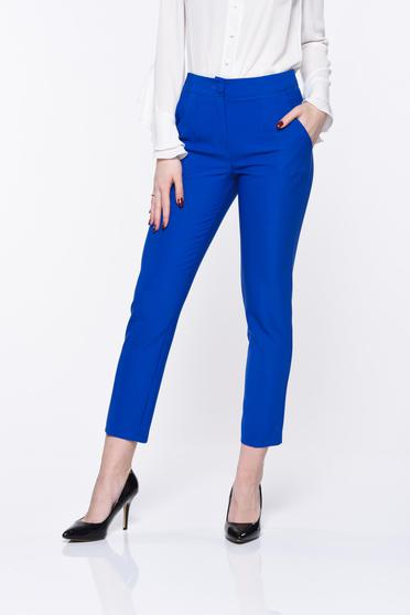 Artista blue trousers office with pockets with medium waist slightly elastic fabric