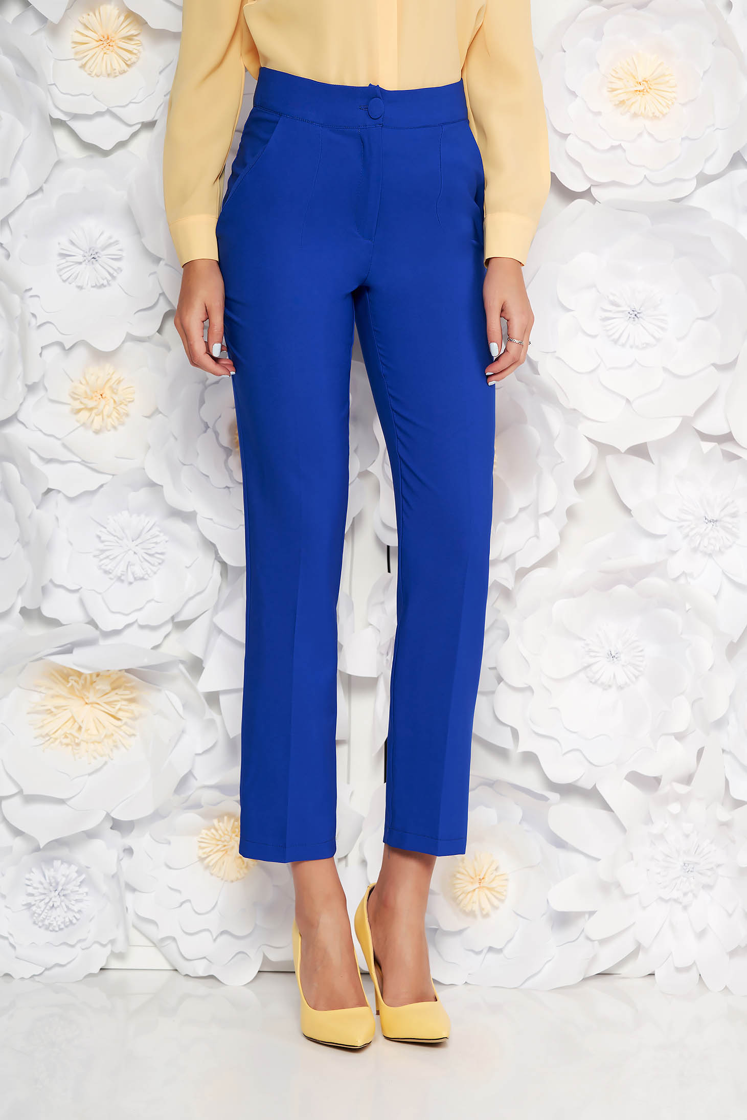 Artista blue office trousers with pockets with medium waist slightly elastic fabric with straight cut