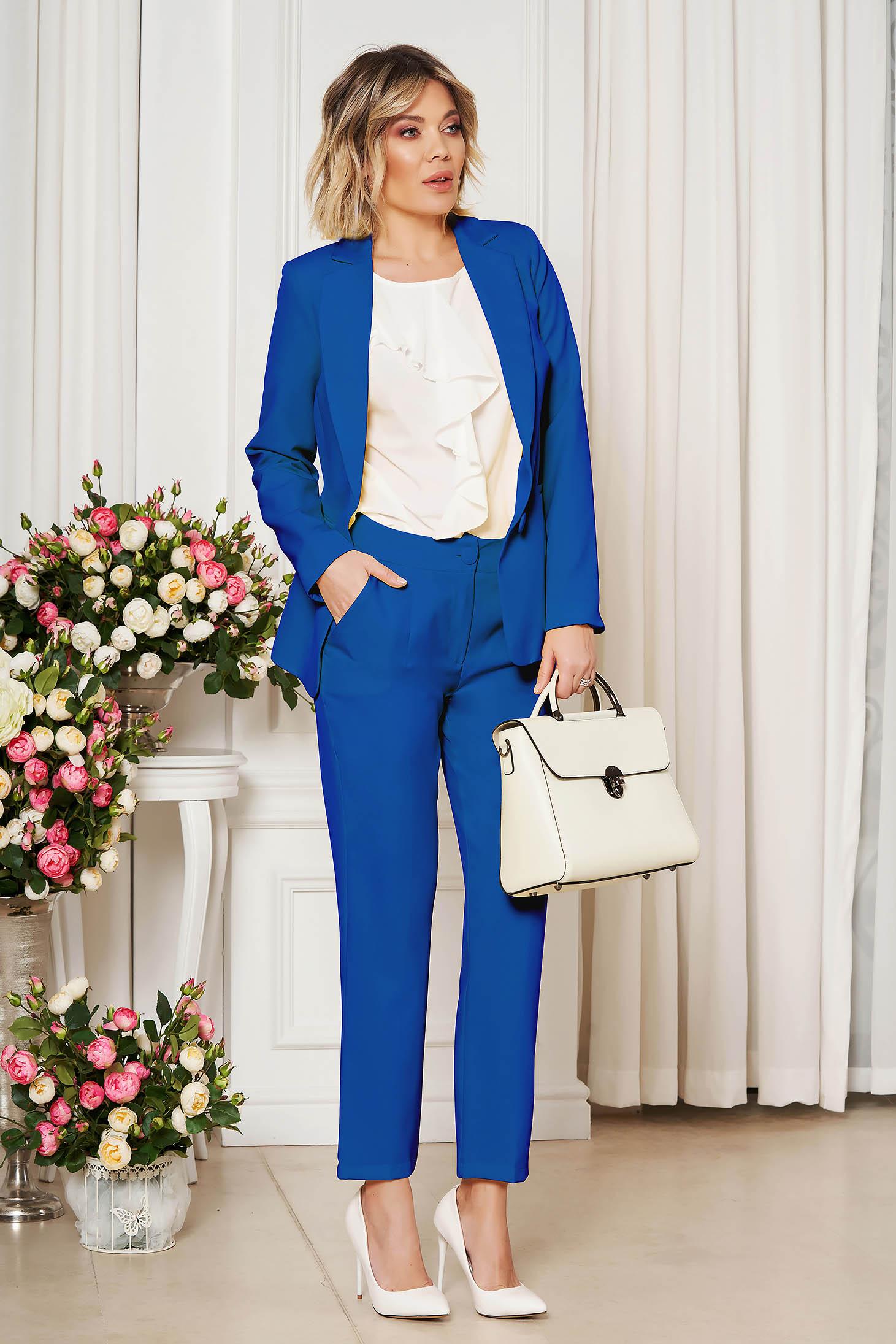 Pantaloni StarShinerS albastri office cu un croi drept din stofa usor elastica cu talie medie si buzunare