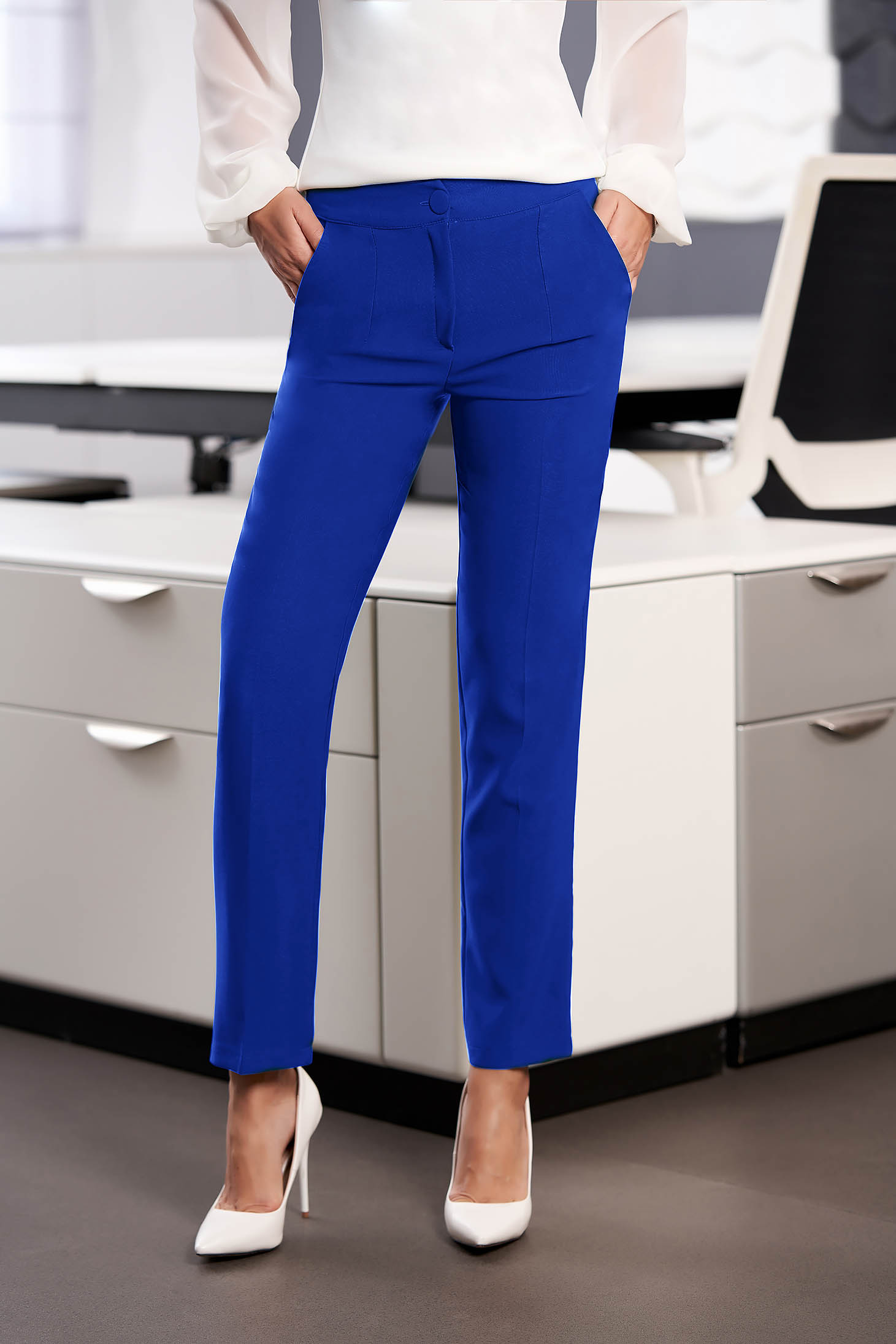 StarShinerS blue office trousers with pockets medium waist slightly elastic fabric with straight cut