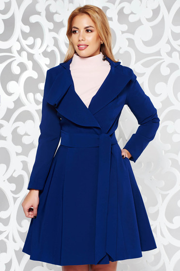 Artista blue trenchcoat with inside lining cloche accessorized with tied waistband from non elastic fabric