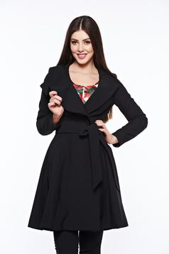 Artista black trenchcoat with inside lining cloche accessorized with tied waistband
