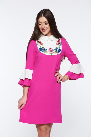 LaDonna pink dress elegant embroidered bell sleeves flared
