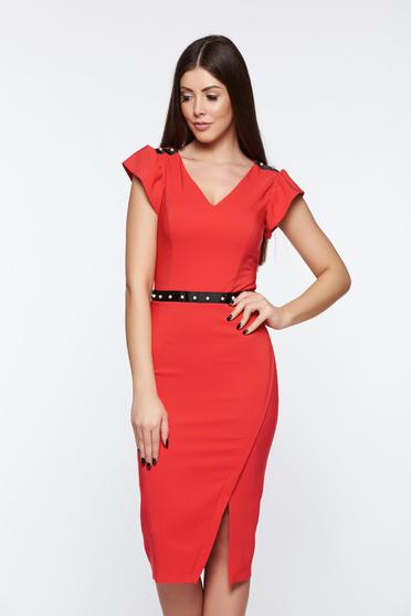 LaDonna red dress elegant pencil with inside lining with pearls