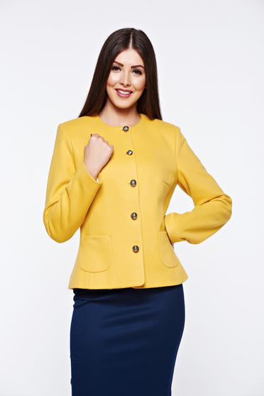 LaDonna mustard jacket elegant tented from non elastic fabric with inside lining