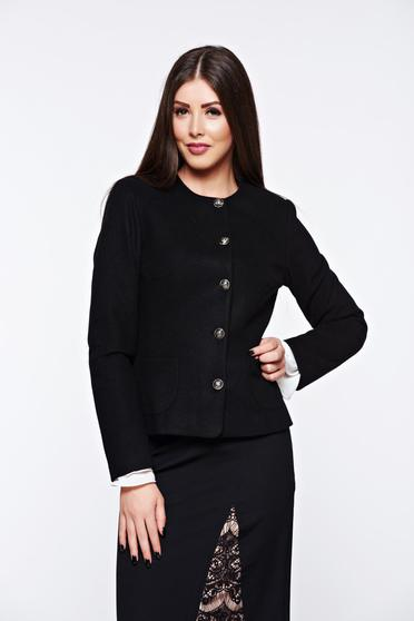 LaDonna black jacket elegant tented from non elastic fabric with inside lining