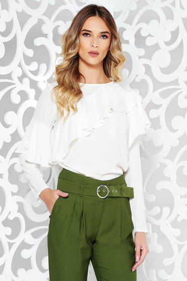 LaDonna white women`s blouse elegant with easy cut airy fabric with ruffles on the chest