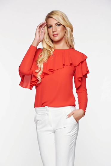 LaDonna red women`s blouse elegant with easy cut airy fabric with ruffles on the chest