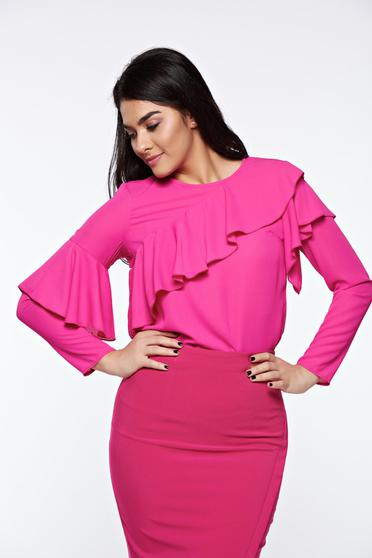LaDonna pink women`s blouse elegant with easy cut airy fabric with ruffles on the chest