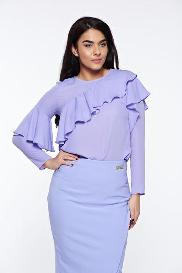 LaDonna lila women`s blouse elegant with easy cut airy fabric with ruffles on the chest