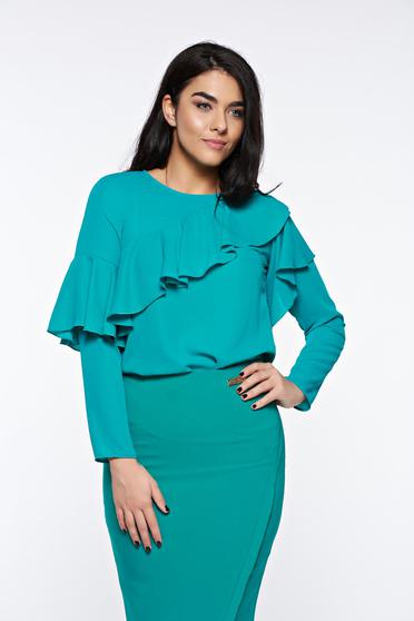 LaDonna green women`s blouse elegant with easy cut airy fabric with ruffles on the chest
