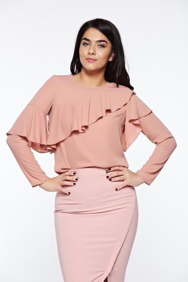 LaDonna rosa women`s blouse elegant with easy cut airy fabric with ruffles on the chest