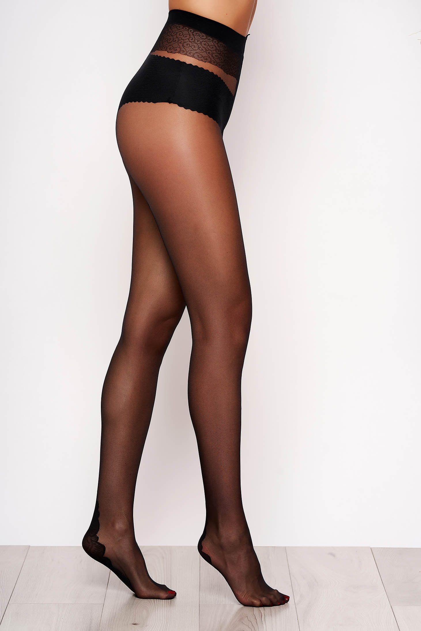 Black women`s tights with lace details