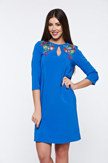 LaDonna blue dress elegant embroidered with easy cut soft fabric