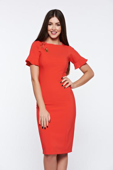 LaDonna red dress elegant handmade applications with inside lining