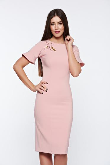 LaDonna rosa dress elegant handmade applications with inside lining