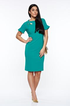 LaDonna green dress elegant handmade applications with inside lining
