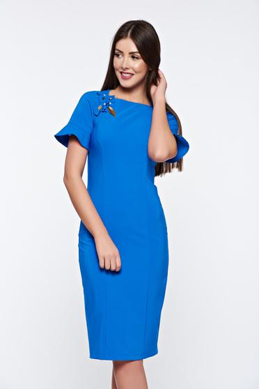 LaDonna blue dress elegant handmade applications with inside lining