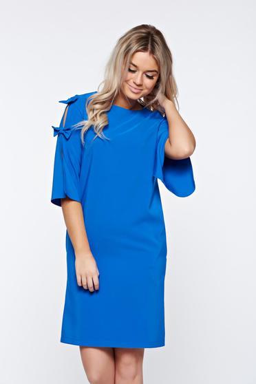 LaDonna blue dress elegant with easy cut slightly elastic fabric