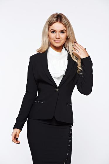 LaDonna black jacket office tented with inside lining slightly elastic fabric