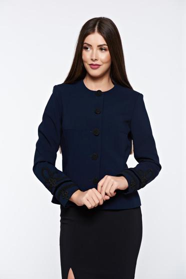 LaDonna darkblue jacket elegant manual sewed embroidery with inside lining