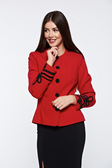 LaDonna red jacket elegant manual sewed embroidery with inside lining
