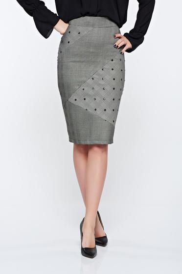 LaDonna grey skirt office slightly elastic fabric with tented cut