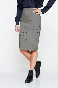 LaDonna grey skirt slightly elastic fabric with tented cut plaid fabric with sequin embellished details