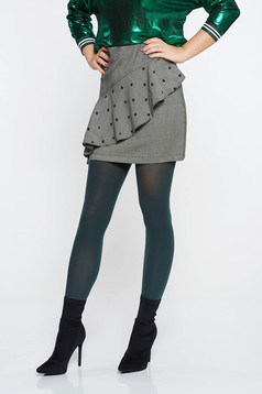 LaDonna grey casual skirt slightly elastic fabric with ruffle details