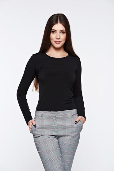 LaDonna black women`s blouse basic with tented cut slightly elastic fabric