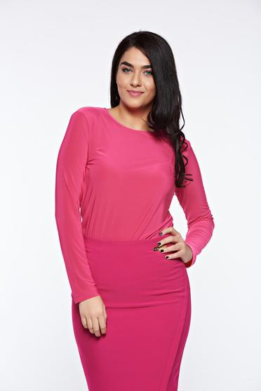 LaDonna pink women`s blouse basic with tented cut slightly elastic fabric