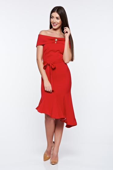 Artista red dress elegant from elastic fabric asymmetrical off shoulder