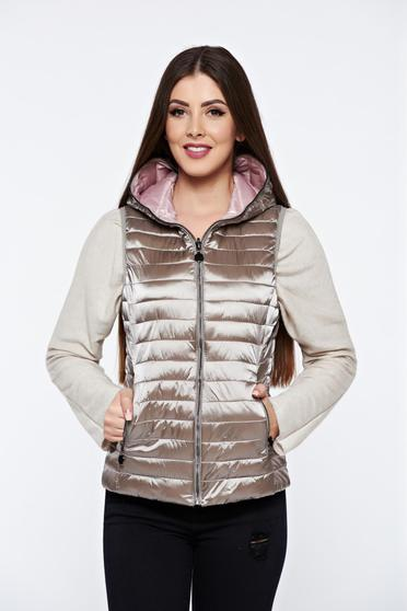 Cream gilet casual double-faced with pockets from slicker