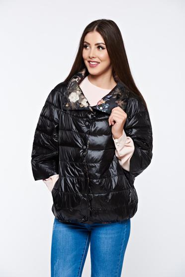 Black jacket double-faced casual from slicker with easy cut
