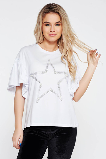 White t-shirt casual flared elastic cotton with pearls