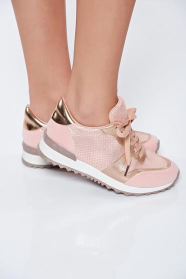 Pink sneakers casual light sole from shiny fabric with lace