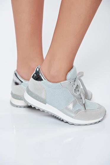 Silver sneakers light sole casual from shiny fabric with lace