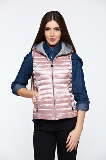Rosa gilet double-faced casual from slicker with pockets