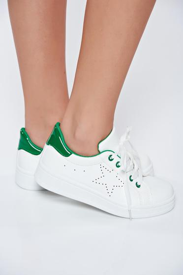 White sneakers casual from ecological leather with lace