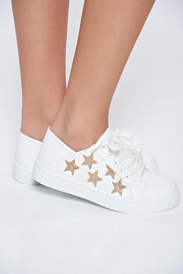 White sneakers casual with lace with glitter details