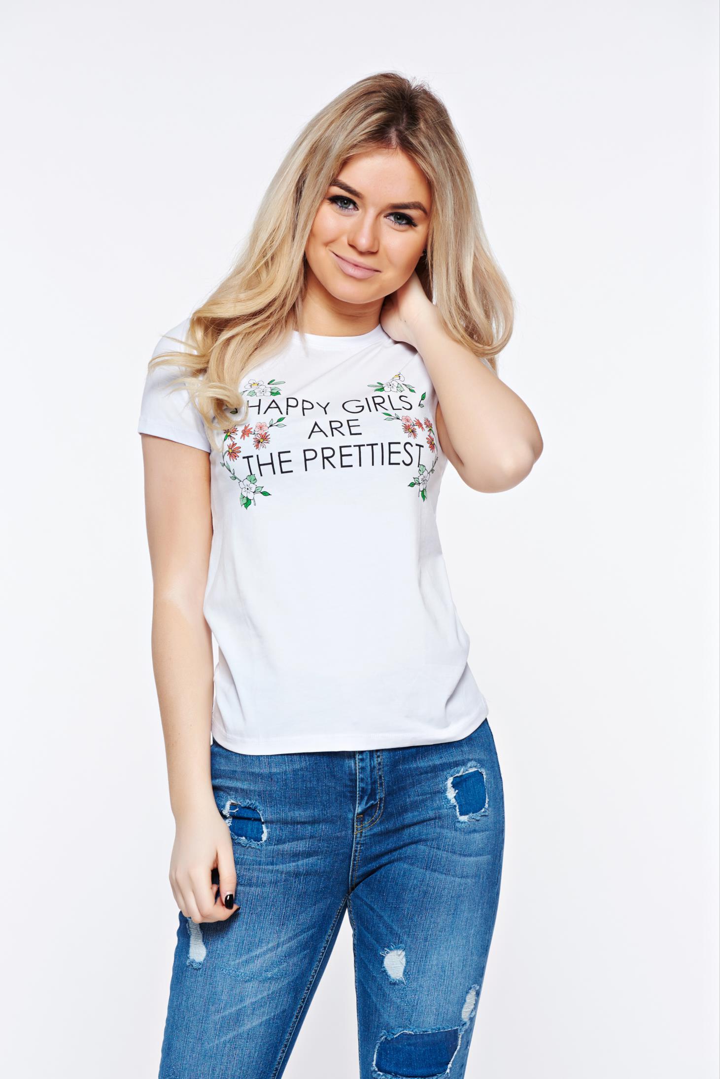 ead2126001 Fehér Top Secret casual pamutból készült bő szabásu póló virágmintás  díszítéssel