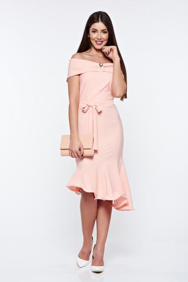 Artista peach dress elegant from elastic fabric asymmetrical off shoulder