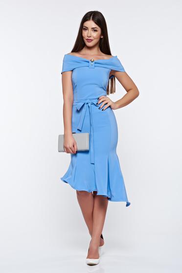Artista lightblue dress elegant from elastic fabric asymmetrical off shoulder