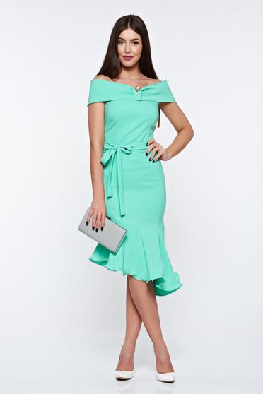 Artista lightgreen dress elegant from elastic fabric asymmetrical off shoulder