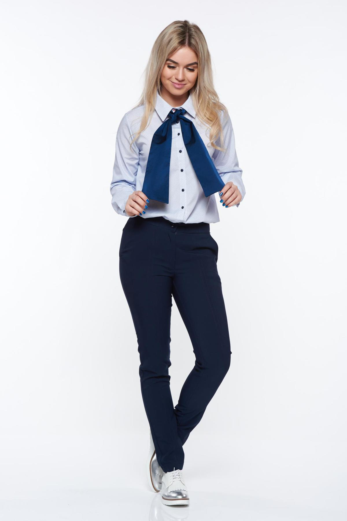 Camasa dama PrettyGirl albastra-deschis office cu croi larg din bumbac neelastic