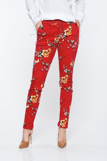 PrettyGirl red trousers elastic cotton with pockets with medium waist