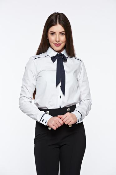 PrettyGirl white women`s shirt office with easy cut nonelastic cotton