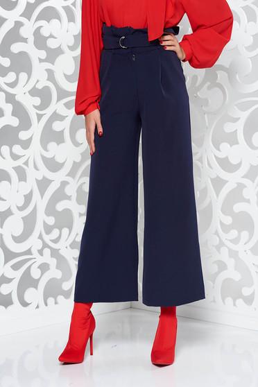 PrettyGirl darkblue trousers elegant flaring cut high waisted