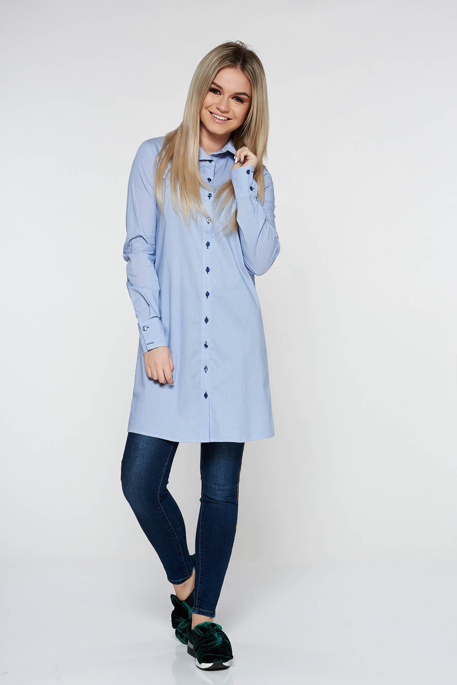 Camasa dama PrettyGirl albastra-deschis casual lunga cu croi larg